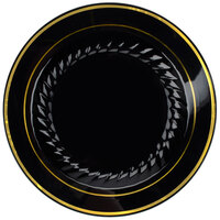 Fineline Silver Splendor Black 507-BKG 7 inch Plastic Plate with Gold Bands - 15 / Pack
