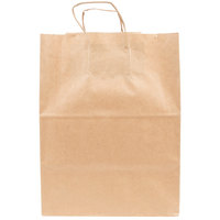 Duro Regal Natural Kraft Paper Shopping Bag with Handles 12 inch x 9 inch x 15 3/4 inch   - 200/Bundle