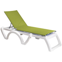 Grosfillex US673152 Fern Green Replacement Sling for Calypso Stacking Adjustable Resin Chaises in White - 12/Case
