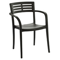 Grosfillex US633002 Charcoal Vogue Stacking Armchair