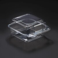 Dart Solo C25UT1 StayLock 6 1/8 inch x 6 1/2 inch x 3 1/4 inch Clear Hinged Plastic 6 inch Square Container - 500 / Case