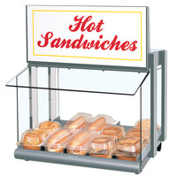 Hatco GRHW-1SGS Glo-Ray Stainless Steel Slanted Mini-Merchandising Warmer with Sign and Toggle Controls - 820W