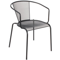 BFM Seating SU1305BL Verona Outdoor / Indoor Stackable Black Steel Arm Chair