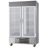 Beverage Air HBR49-1-G-LED 2 Section Glass Door Bottom Mount Reach-In Refrigerator with LED Lighting - 49 cu. ft.