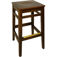 BFM Seating LWB680WAMHW Trevor Walnut Wood Barstool with Mahogany Wood Seat