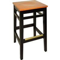 BFM Seating LWB680BLHOW Trevor Black Wood Barstool with Honey Oak Wood Seat