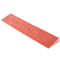 Cactus Mat 2557-RMCR Poly-Lok 2 1/2 inch x 14 inch Red Vinyl Interlocking Drainage Floor Tile Corner Ramp with Male End - 3/4 inch Thick
