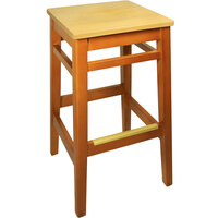 BFM Seating LWB680HONTW Trevor Honey Oak Wood Barstool with Natural Wood Seat