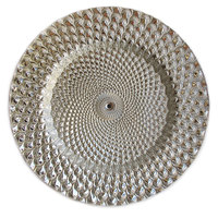 The Jay Companies 13 inch Round Istanbul Silver Glass Charger Plate
