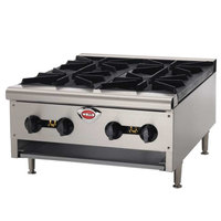 Wells HDHP-3630G Heavy Duty 36 inch Six Burner Gas Countertop Hot Plate - 129,000 BTU