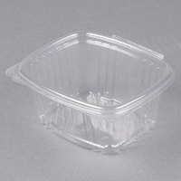 Genpak AD16 5 3/8 inch x 4 1/2 inch x 2 5/8 inch 16 oz. Clear Hinged Deli Container - 100/Pack