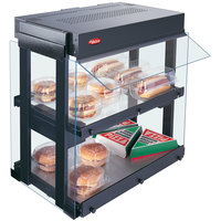 Hatco GRHW-1SGD Black Dual Shelf Heated Glass Mini-Merchandising Warmer with Sign - 1330W