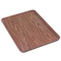 Carlisle 1318WFG063 Customizable Wood Grain Pecan 13 inch x 18 inch x 1 inch Glasteel Display / Bakery Fiberglass Tray - 12/Case