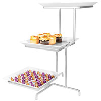 Cal-Mil SR2301-39 Platinum Three Tier Offset Stand with Square Melamine Plates - 16 inch x 22 inch x 26 inch