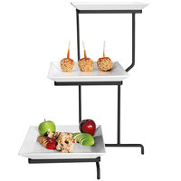 Cal-Mil PP2301-13 Prestige Black Three Tier Incline Display with Square Porcelain Plates - 16 inch x 26 inch x 22 inch