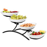 Cal-Mil PP2000-13 Prestige Black Four Tier Wire Stand with Oval Porcelain Bowls - 7 inch x 19 inch x 9 inch