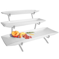 Cal-Mil PP103-39 Prestige Platinum Three Tier Wire Riser with Porcelain Platters - 12 inch x 22 inch x 12 inch
