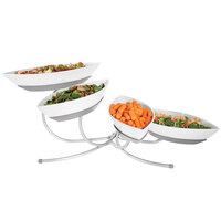 Cal-Mil SR302-39 Platinum Angled Tier Stand with Four Canoe Melamine Bowls - 17 inch x 32 inch x 12 inch