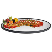 Cal-Mil RR322 24 inch x 32 inch Oval Mirror Tray with Raised Black Rim