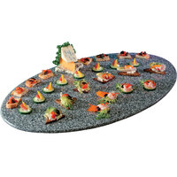 Cal-Mil SS312-30 Gourmet Display 19 inch x 31 inch Gray Oval Simulated Stone Acrylic Tray