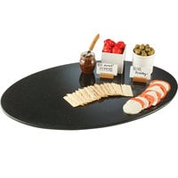 Cal-Mil SS312-31 Gourmet Display 19 inch x 31 inch Black Oval Simulated Stone Acrylic Tray