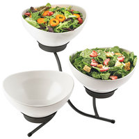 Cal-Mil SR701-13 Black Three Tier Incline Resting Bowl Display with Round Melamine Bowls - 21 inch x 18 inch x 19 inch