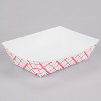 2 1/2 lb. Red Check Paper Food Tray - 500 / Case