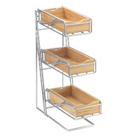 Cal Mil 1235-39-96 3 Tier Platinum Condiment and Flatware Display with Midnight Bamboo Bins – 10 1/4 inch x 6 3/4 inch x 16 inch