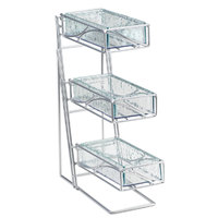 Cal Mil 1235-39-43 Glacier 3 Tier Platinum Condiment and Flatware Display with Faux Glass Bins – 5 inch x 6 3/4 inch x 16 inch
