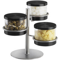 Cal-Mil 1855-5-13 Mixology Stainless Steel Three Tier 32 oz. Black Lid Jar Display - 16 inch x 11 inch x 11 1/4 inch