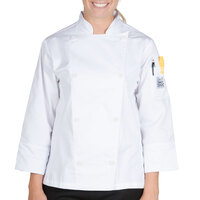 Chef Revival LJ027-S Knife and Steel Size 4 (S) White Customizable Ladies Long Sleeve Chef Jacket - Poly-Cotton Blend with Chef Logo White Buttons