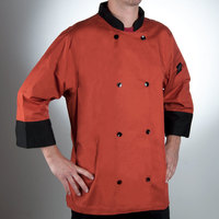 Chef Revival J134SP-XS Cool Crew Fresh Size 32-34 (XS) Spice Orange Customizable Chef Jacket with 3/4 Sleeves - Poly-Cotton