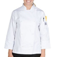 Chef Revival LJ027-2X Knife and Steel Size 20 (2X) White Customizable Ladies Long Sleeve Chef Jacket - Poly-Cotton Blend with Chef Logo White Buttons