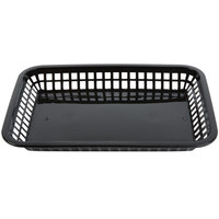 Tablecraft 1079BK Mas Grande 11 3/4 inch x 8 1/2 inch x 1 1/2 inch Black Rectangular Polypropylene Fast Food Basket - 12 / Pack