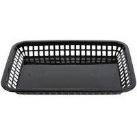 Tablecraft 1079BK Mas Grande 11 3/4 inch x 8 1/2 inch x 1 1/2 inch Black Rectangular Polypropylene Fast Food Basket - 12/Pack