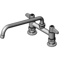 Equip by T&S 5F-6DLS12 Deck Mount Mixing Faucet with Lever Handles and 12 inch Swing Nozzle on 6 inch Centers