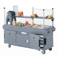 Cambro CamKiosk KVC856191 Granite Gray Vending Cart with 6 Pan Wells
