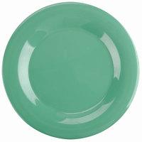 10 1/2 inch Green Wide Rim Melamine Plate - 12/Pack
