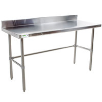 Regency 24 inch x 72 inch 16-Gauge 304 Stainless Steel Commercial Open Base Work Table with 4 inch Backsplash
