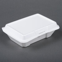 Dart Solo 205HT1 9 inch x 6 inch x 3 inch White Foam Take Out Container with Perforated Hinged Lid - 200/Case