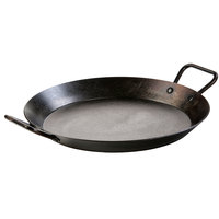 Lodge CRS15 15 inch Pre-Seasoned Carbon Steel Paella Pan with Loop Handles