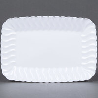 Fineline Flairware 257-WH White 5 inch x 7 inch Plastic Snack Tray - 18 / Pack