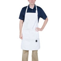 Chef Revival 401BA 34 inch x 25 inch Customizable Knife & Steel White Bib Apron with Full Front Pocket