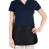 Chef Revival 605REV-BK Customizable Reversible Black Half Apron - 12 inchL x 24 inchW