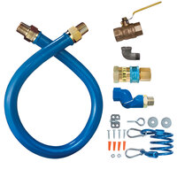 Dormont 16100KITS24 Blue Hose Stainless Steel Moveable Foodservice Gas Connector with Swivel - 24 inch x 1 inch