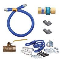 Dormont 16125KIT72 Deluxe SnapFast® 72 inch Gas Connector Kit with Two Elbows and Restraining Cable - 1 1/4 inch Diameter