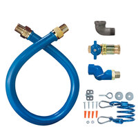 Dormont 16100KITCFS24 Blue Hose Stainless Steel Moveable Foodservice Gas Connector with Quick Disconnect, Swivel, and Restraining Cable - 24 inch x 1 inch