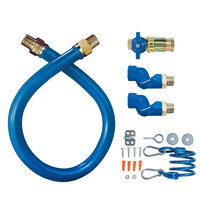 Dormont 1650KITCF2S60 Blue Hose Stainless Steel Moveable Foodservice Gas Connector with Quick Disconnect and Two Swivels - 60 inch x 1/2 inch