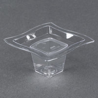 Fineline Tiny Temptations 6205-CL 2 3/4 inch x 2 3/4 inch Tiny Tiers 2-Piece Plastic Tray with 1 oz. Stem - Clear 240 / Case