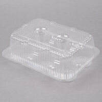 Par-Pak 2020 6-Cup High Top Hinged OPS Plastic Cupcake Container - 200 / Case